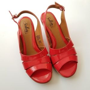 Solos by Softspots Cherry Red Patent Slingback 8.5